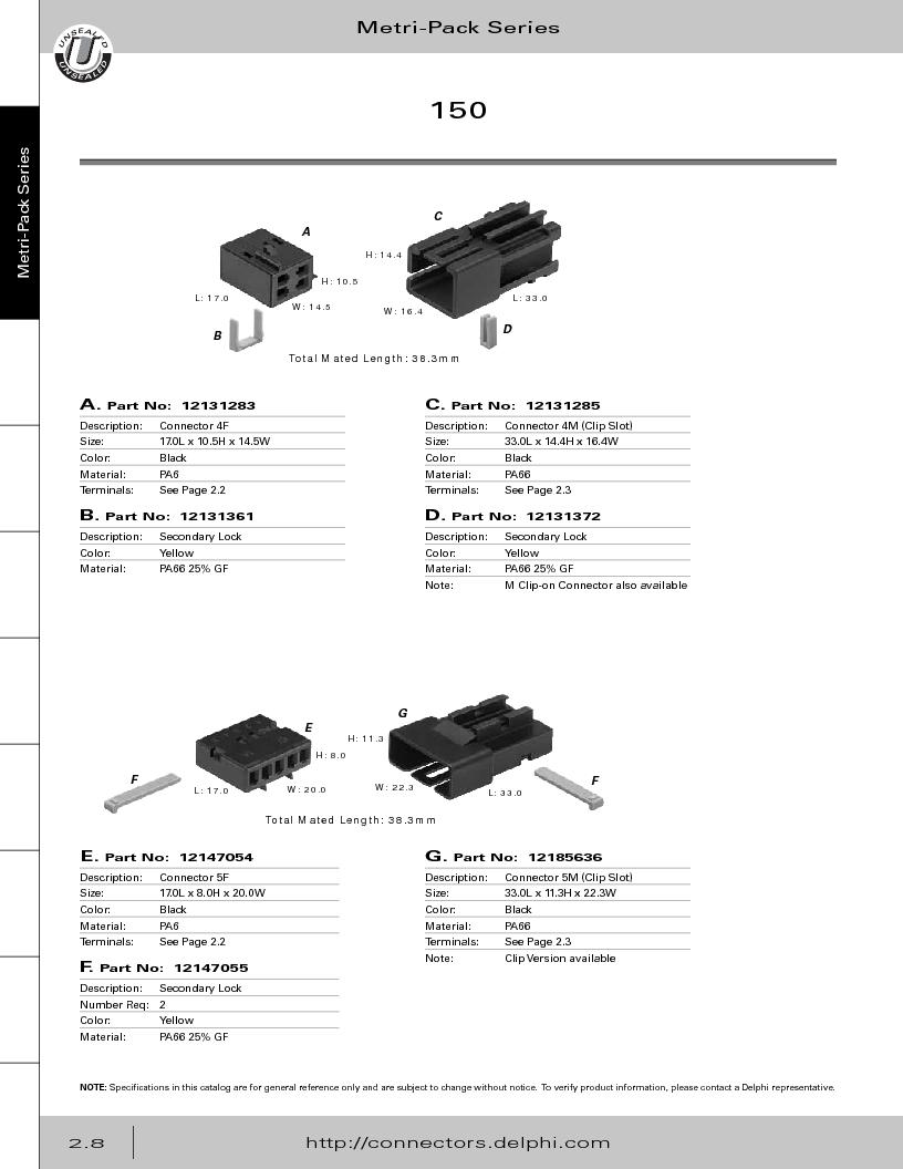 12014254 ,Delphi Connection Systems厂商,Automotive Connectors HAND CRIMPER, 12014254 datasheet预览  第64页