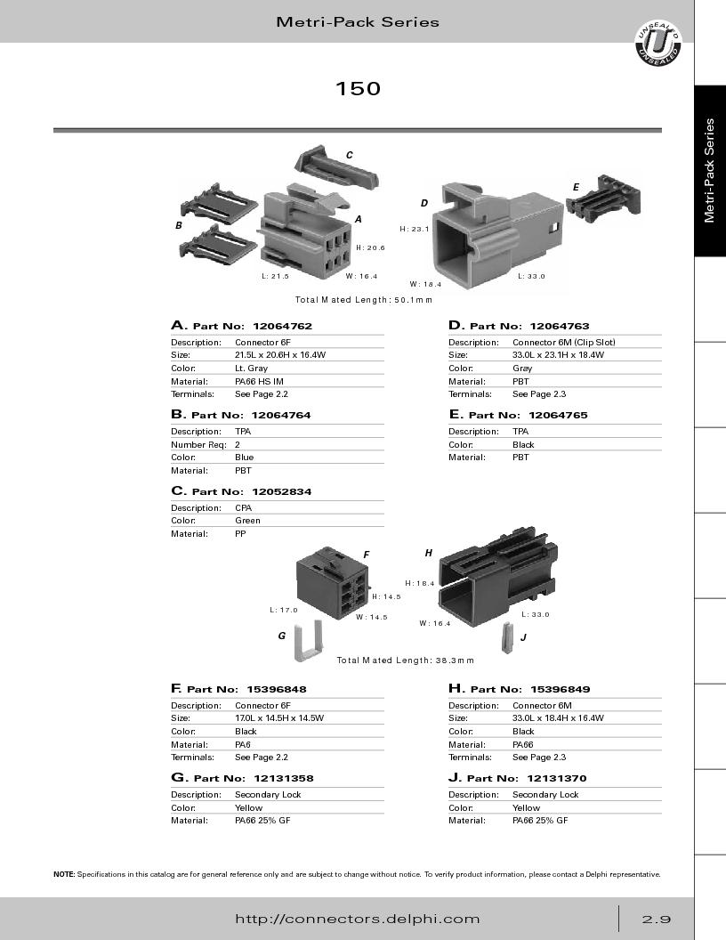 12014254 ,Delphi Connection Systems厂商,Automotive Connectors HAND CRIMPER, 12014254 datasheet预览  第65页