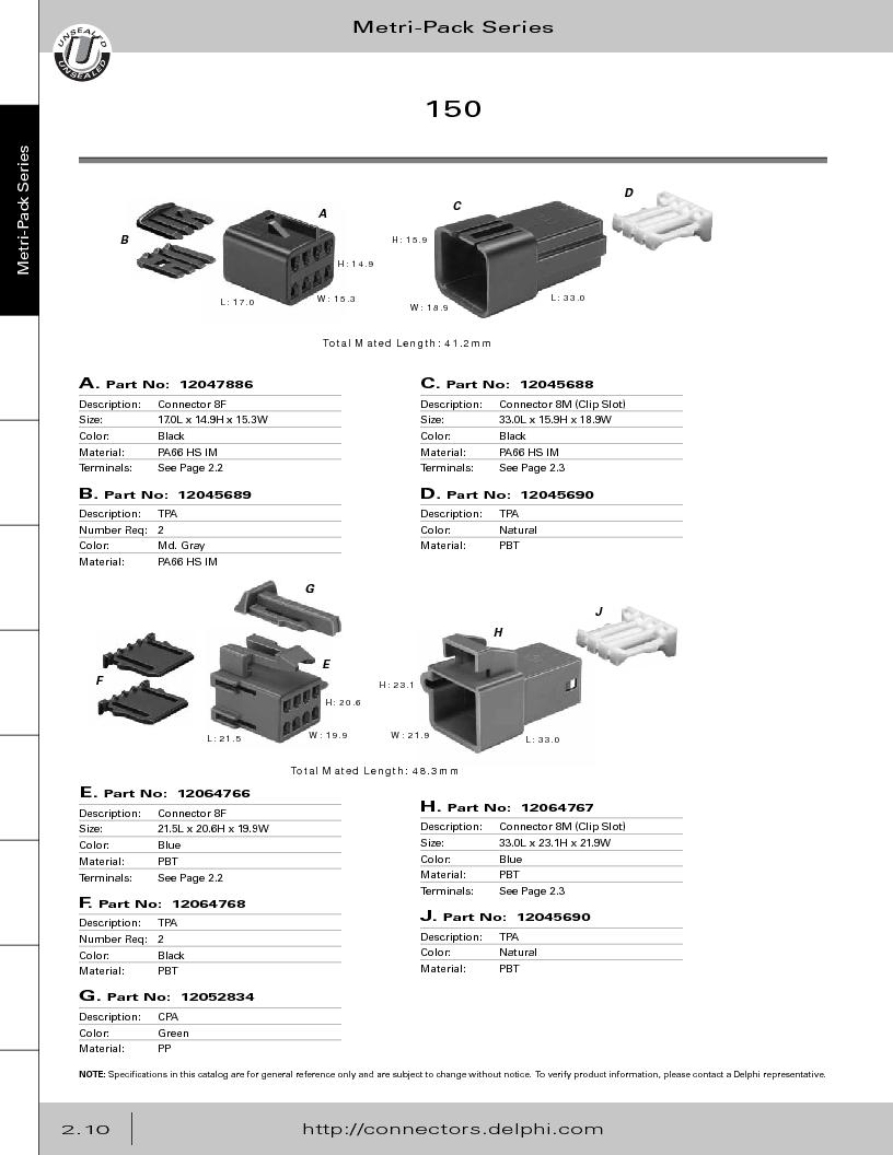 12014254 ,Delphi Connection Systems厂商,Automotive Connectors HAND CRIMPER, 12014254 datasheet预览  第66页