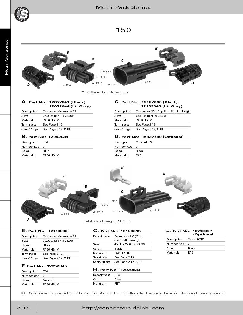 12014254 ,Delphi Connection Systems厂商,Automotive Connectors HAND CRIMPER, 12014254 datasheet预览  第70页