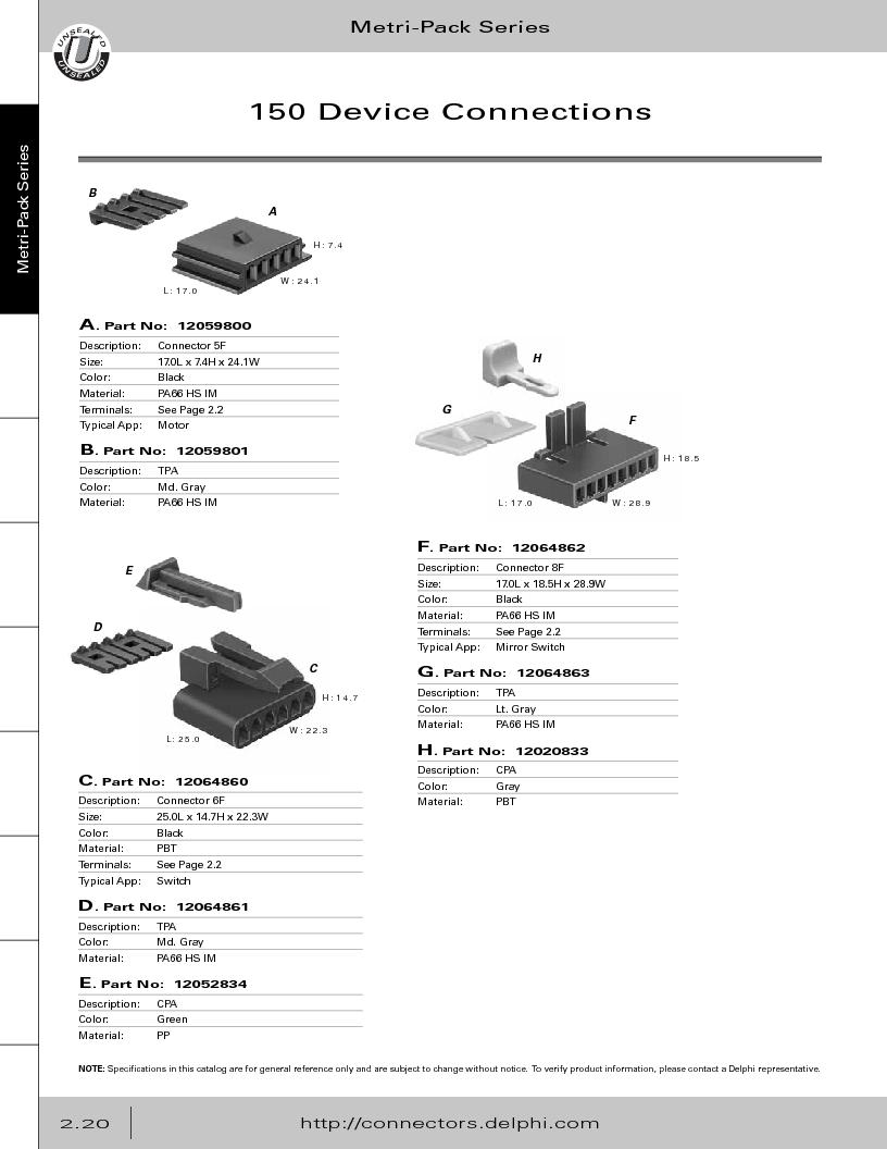 12014254 ,Delphi Connection Systems厂商,Automotive Connectors HAND CRIMPER, 12014254 datasheet预览  第76页