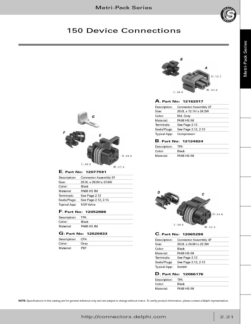 12014254 ,Delphi Connection Systems厂商,Automotive Connectors HAND CRIMPER, 12014254 datasheet预览  第77页