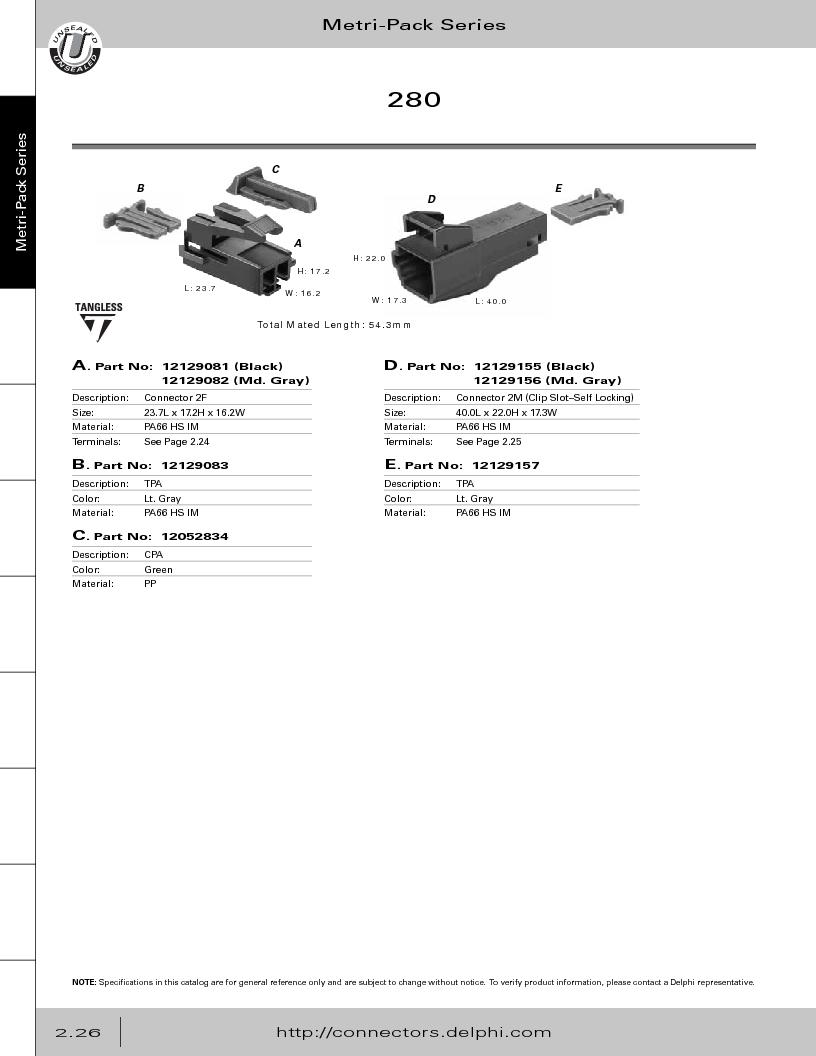 12014254 ,Delphi Connection Systems厂商,Automotive Connectors HAND CRIMPER, 12014254 datasheet预览  第82页