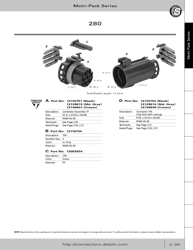12014254 ,Delphi Connection Systems厂商,Automotive Connectors HAND CRIMPER, 12014254 datasheet预览  第91页