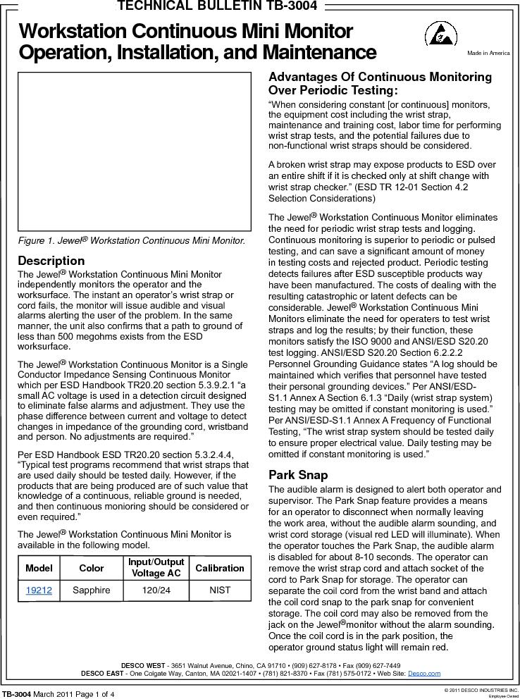 19212 ,Desco厂商,MONITOR WORKSTATION MINI 120V, 19212 datasheet预览  第1页