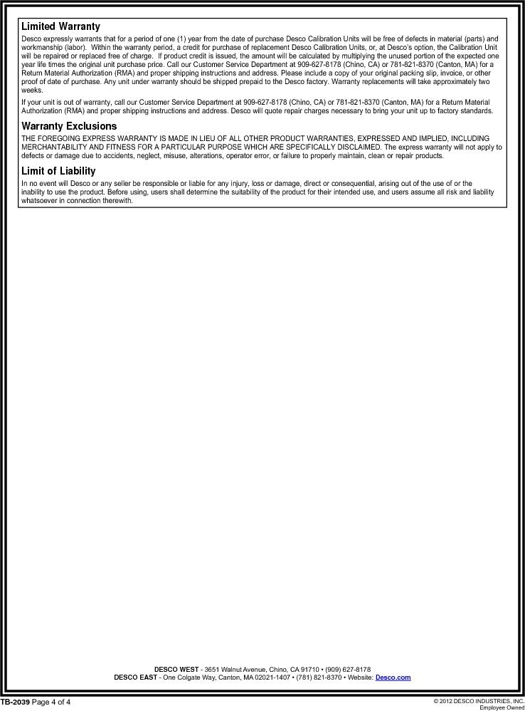 07010 ,Desco厂商,CALIBRATION UNIT NIST STD WS&FG, 07010 datasheet预览  第4页
