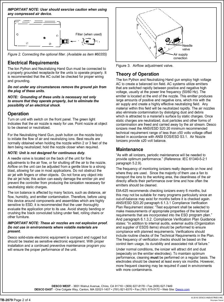 19588 ,Desco厂商,CONTR HAND GUN W/HOSE 220V NIST, 19588 datasheet预览  第2页