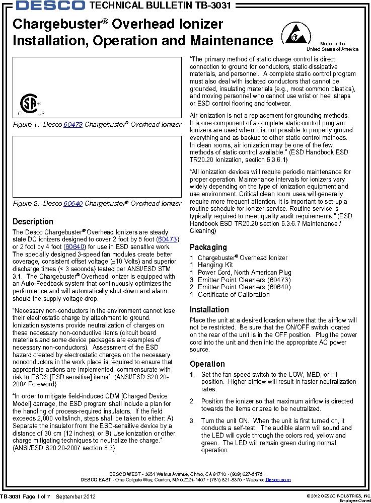60473 ,Desco厂商,IONIZER O'HEAD 3FAN 120V US PLUG, 60473 datasheet预览  第1页