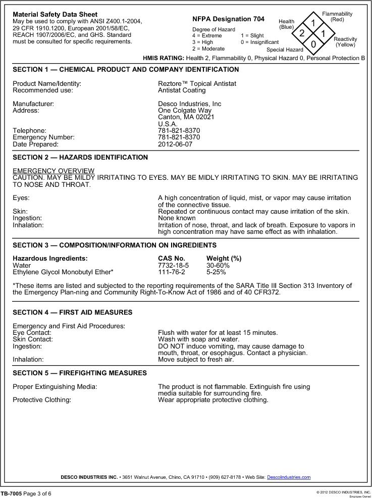 10415 ,Desco厂商,ANTISTATIC SPRAY REZTORE 1QT., 10415 datasheet预览  第3页