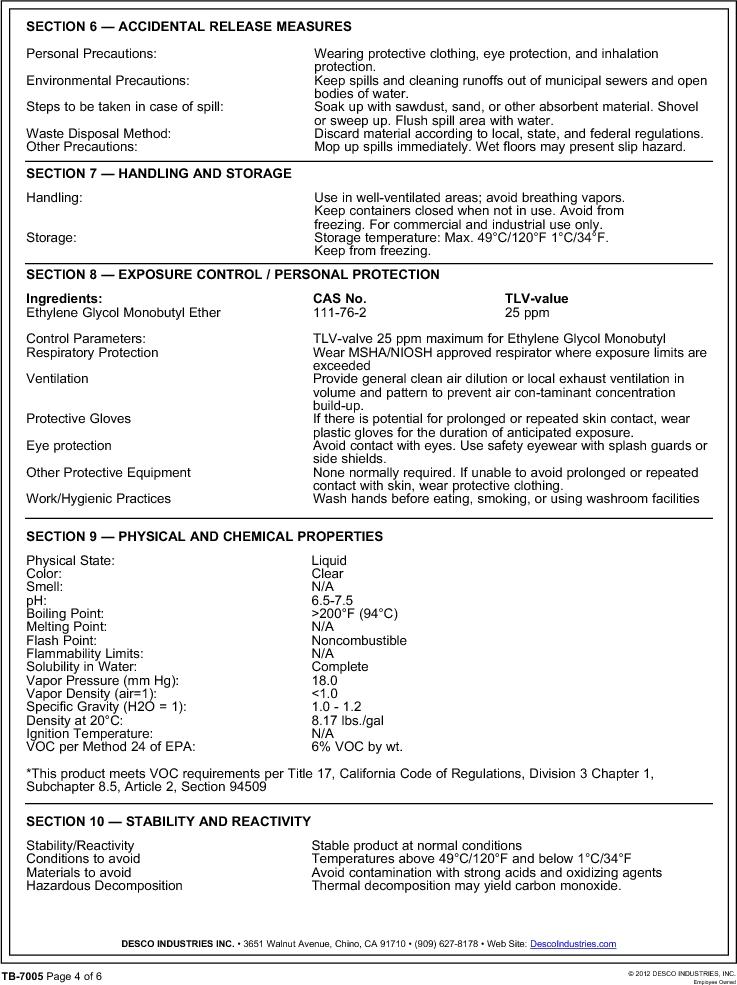 10415 ,Desco厂商,ANTISTATIC SPRAY REZTORE 1QT., 10415 datasheet预览  第4页
