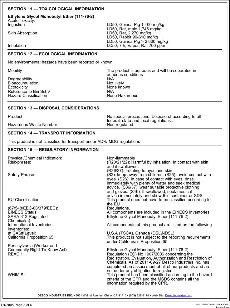 10415 ,Desco厂商,ANTISTATIC SPRAY REZTORE 1QT., 10415 datasheet预览  第5页