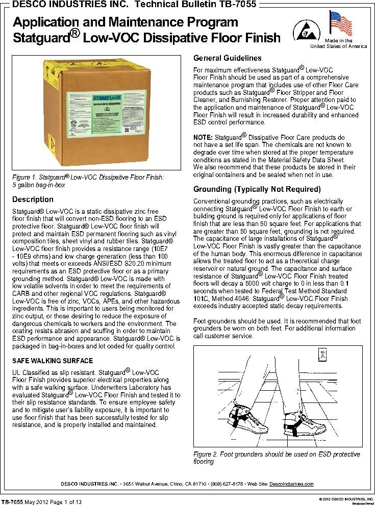 10552 ,Desco厂商,FLOOR FINISH 55 GAL, 10552 datasheet预览  第1页