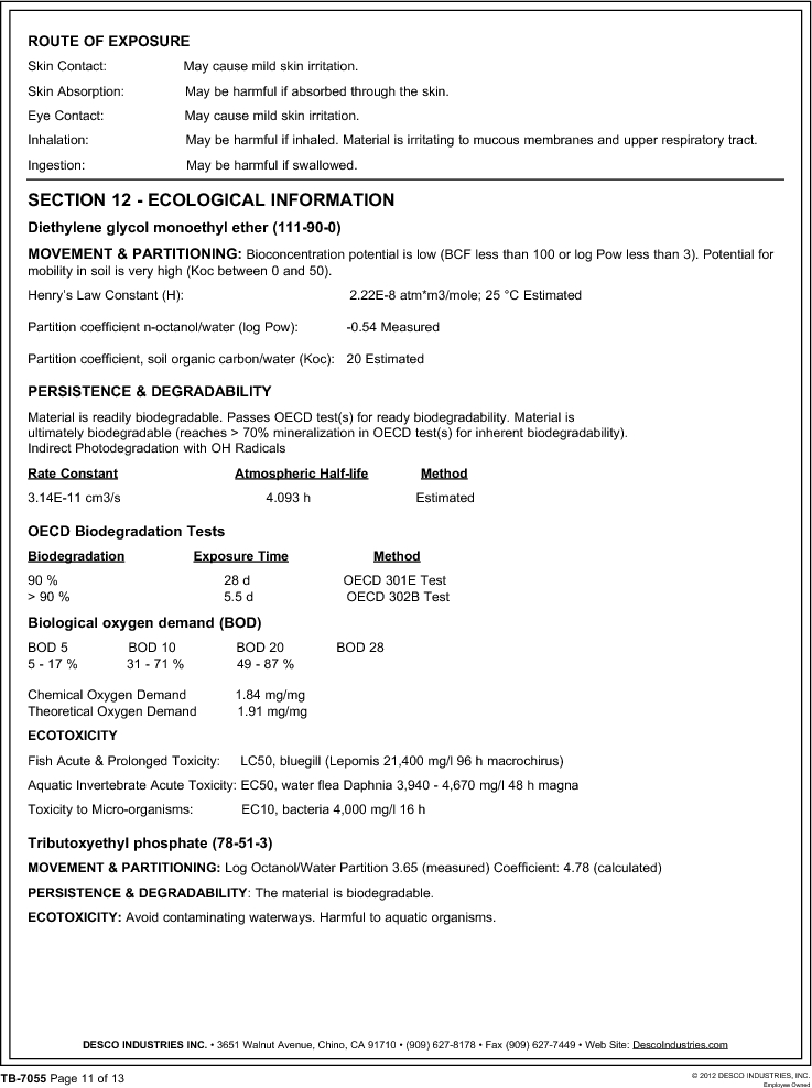 10552 ,Desco厂商,FLOOR FINISH 55 GAL, 10552 datasheet预览  第11页