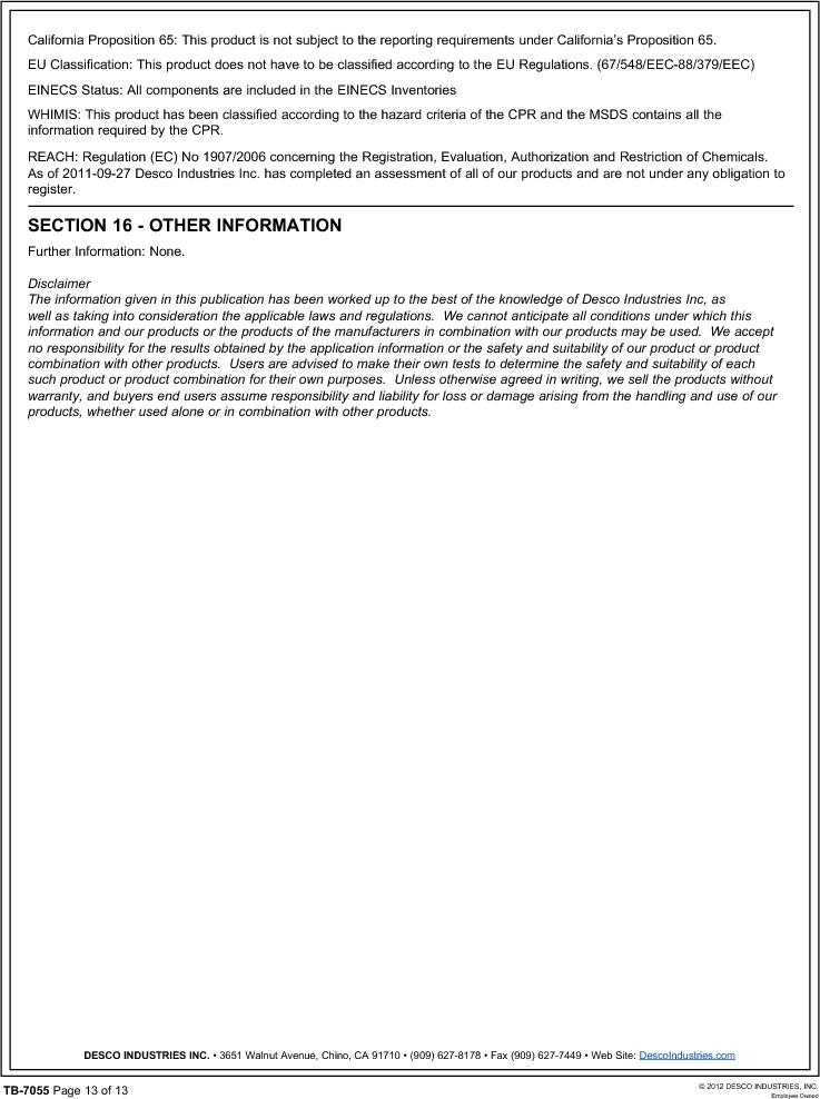 10552 ,Desco厂商,FLOOR FINISH 55 GAL, 10552 datasheet预览  第13页