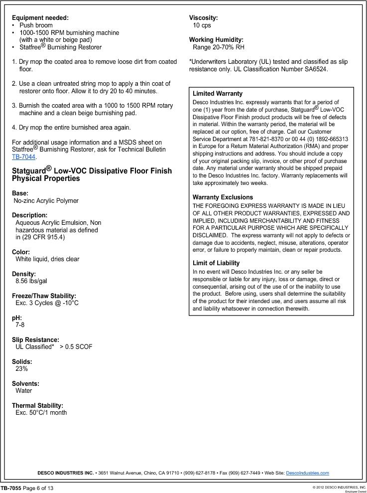 10552 ,Desco厂商,FLOOR FINISH 55 GAL, 10552 datasheet预览  第6页
