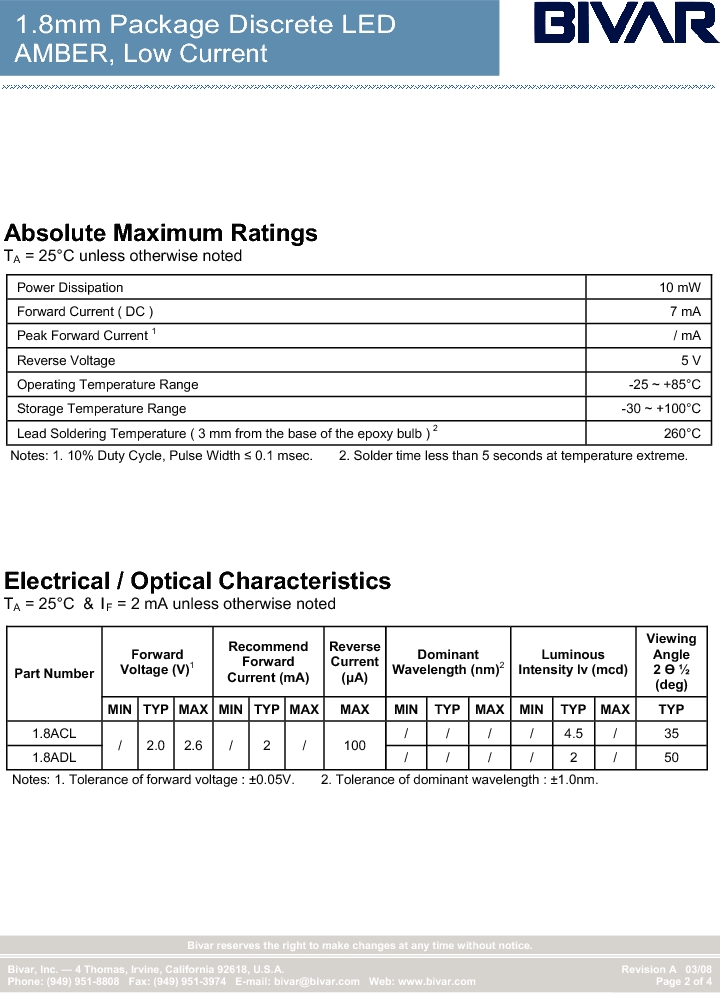 1.8ADL ,Bivar Inc厂商,Standard LED - Through Hole LED Thru-Hole 1.8mm Amber, 1.8ADL datasheet预览  第2页