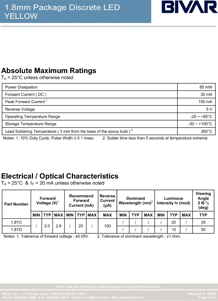 1.8YC ,Bivar Inc厂商,Standard LED - Through Hole LED Thru-Hole 1.8mm Yellow, 1.8YC datasheet预览  第2页