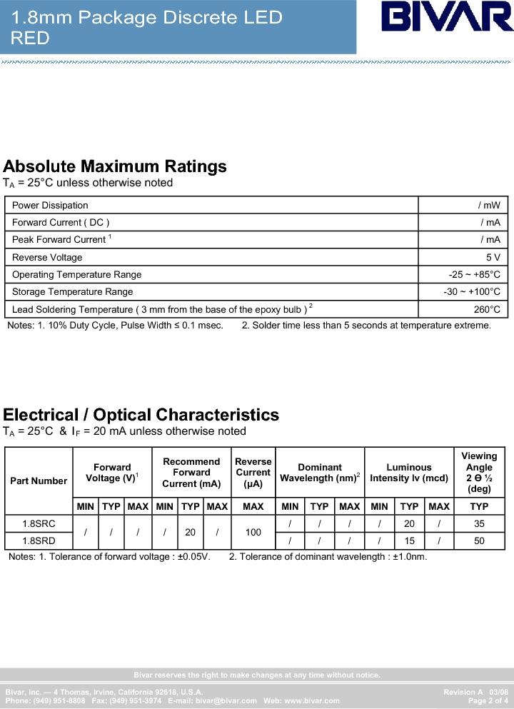 1.8SRC ,Bivar Inc厂商,Standard LED - Through Hole LED Thru-Hole 1.8mm Red, 1.8SRC datasheet预览  第2页