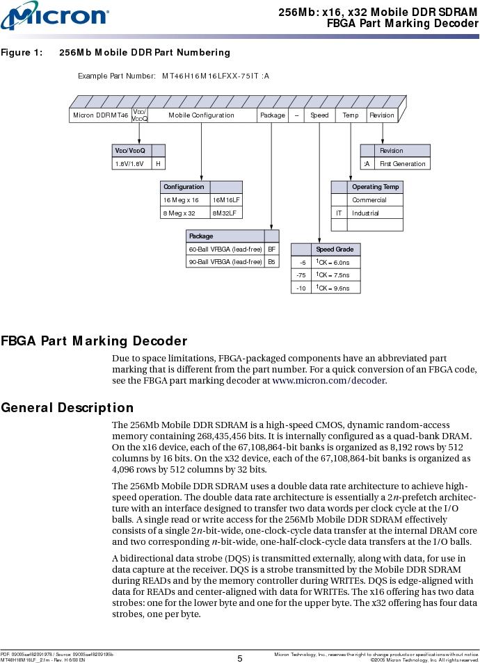 MT46H16M16LFBF-6 AT:H TR ,Micron Technology Inc厂商,IC DDR SDRAM 256MBIT 60VFBGA, MT46H16M16LFBF-6 AT:H TR datasheet预览  第5页
