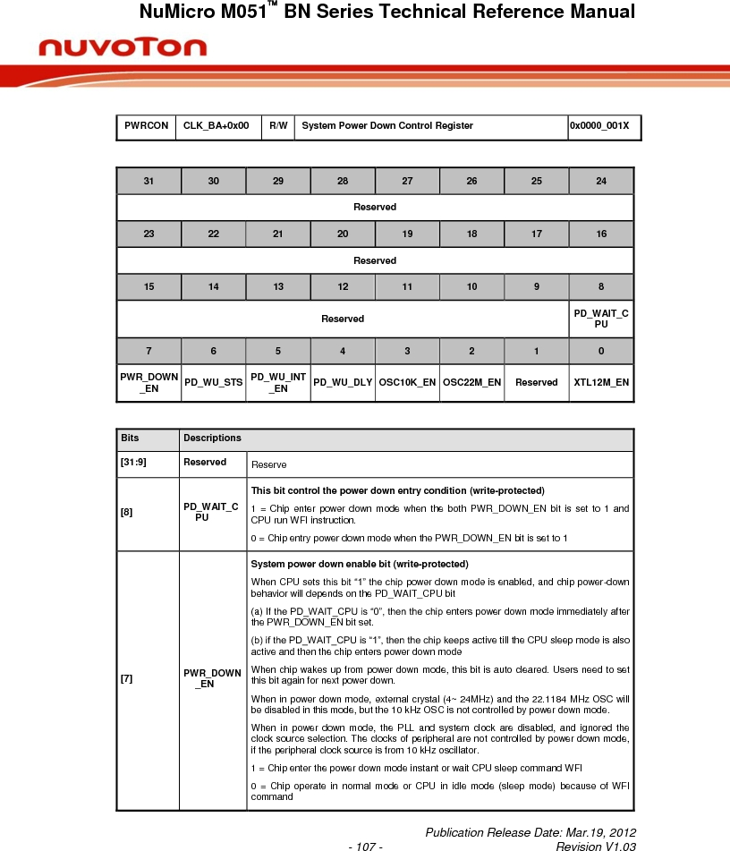 M0516LBN ,Nuvoton Technology Corporation of America厂商,IC MCU 32BIT 64KB FLASH 48LQFP, M0516LBN datasheet预览  第107页
