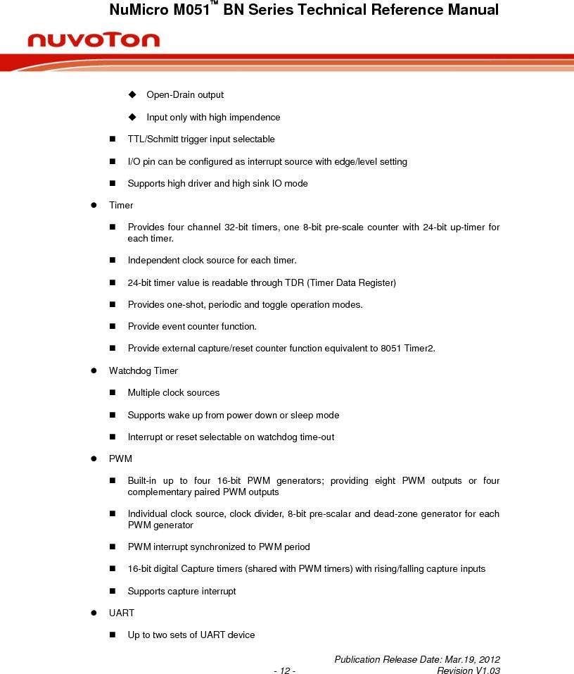 M0516LBN ,Nuvoton Technology Corporation of America厂商,IC MCU 32BIT 64KB FLASH 48LQFP, M0516LBN datasheet预览  第12页