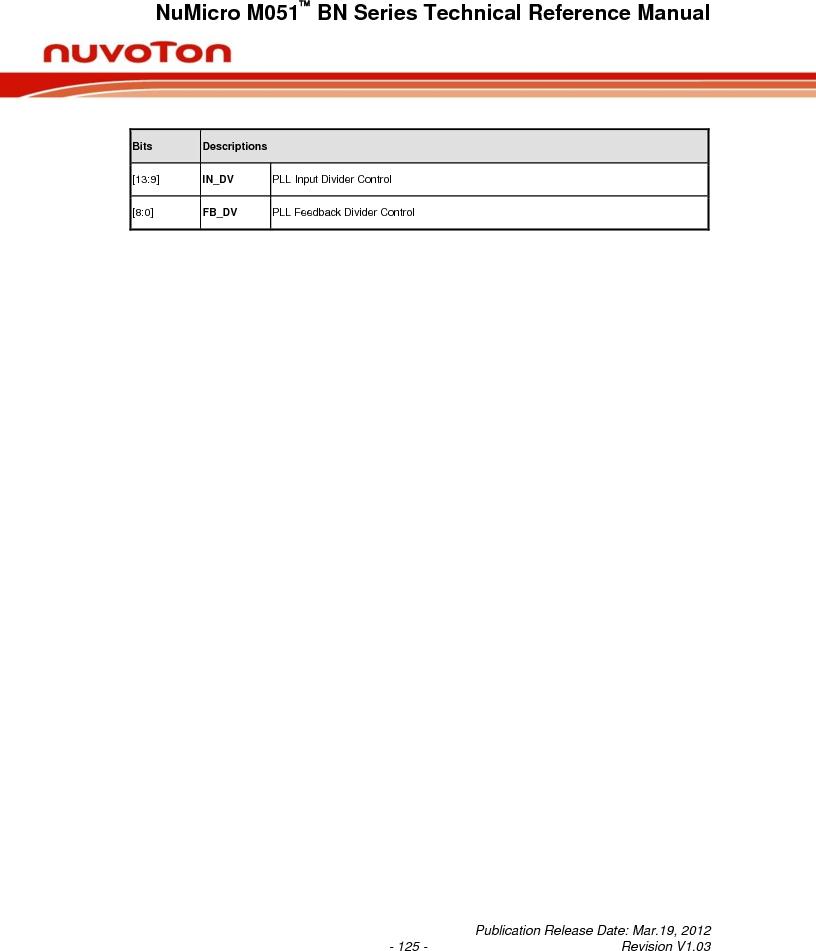 M0516LBN ,Nuvoton Technology Corporation of America厂商,IC MCU 32BIT 64KB FLASH 48LQFP, M0516LBN datasheet预览  第125页