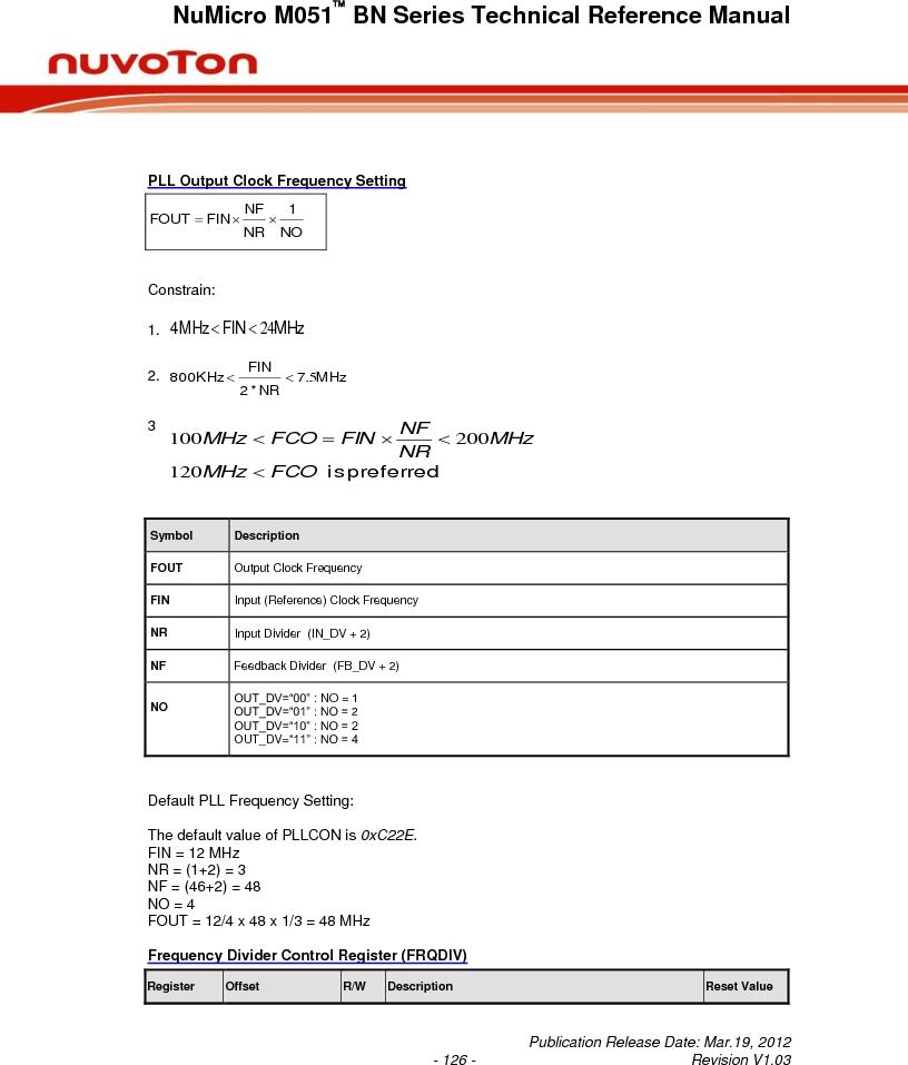 M0516LBN ,Nuvoton Technology Corporation of America厂商,IC MCU 32BIT 64KB FLASH 48LQFP, M0516LBN datasheet预览  第126页