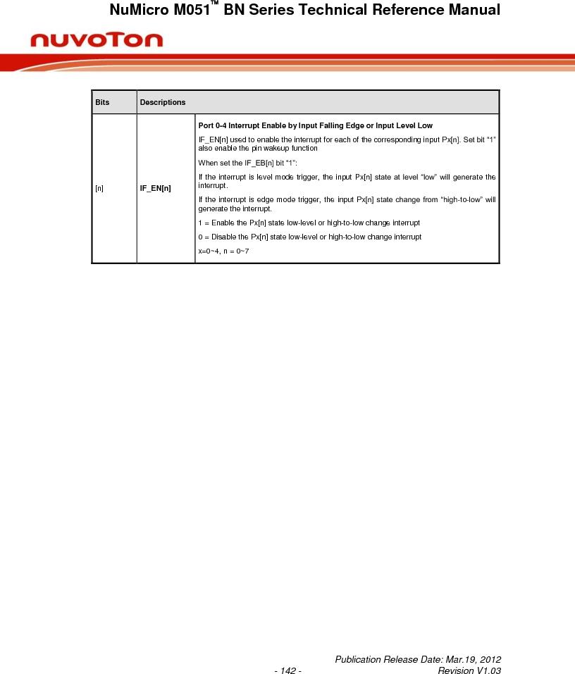 M0516LBN ,Nuvoton Technology Corporation of America厂商,IC MCU 32BIT 64KB FLASH 48LQFP, M0516LBN datasheet预览  第142页