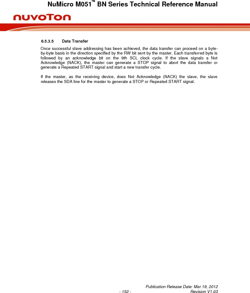 M0516LBN ,Nuvoton Technology Corporation of America厂商,IC MCU 32BIT 64KB FLASH 48LQFP, M0516LBN datasheet预览  第152页