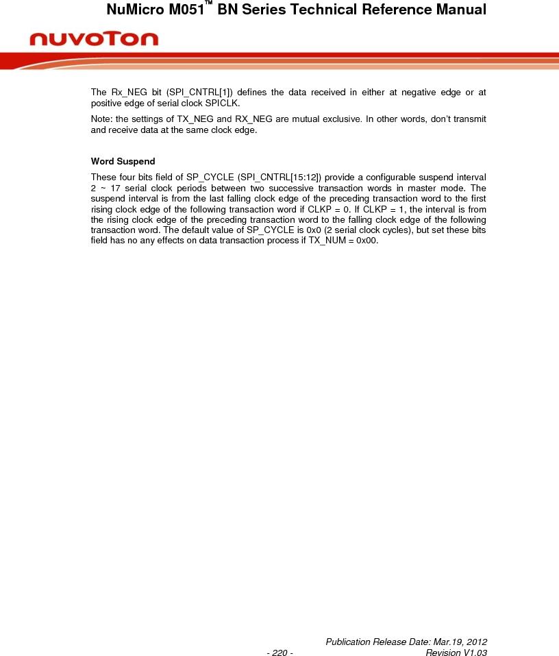 M0516LBN ,Nuvoton Technology Corporation of America厂商,IC MCU 32BIT 64KB FLASH 48LQFP, M0516LBN datasheet预览  第220页