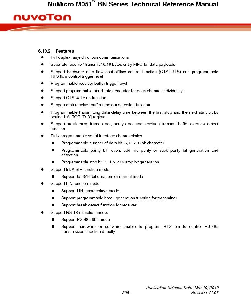 M0516LBN ,Nuvoton Technology Corporation of America厂商,IC MCU 32BIT 64KB FLASH 48LQFP, M0516LBN datasheet预览  第268页