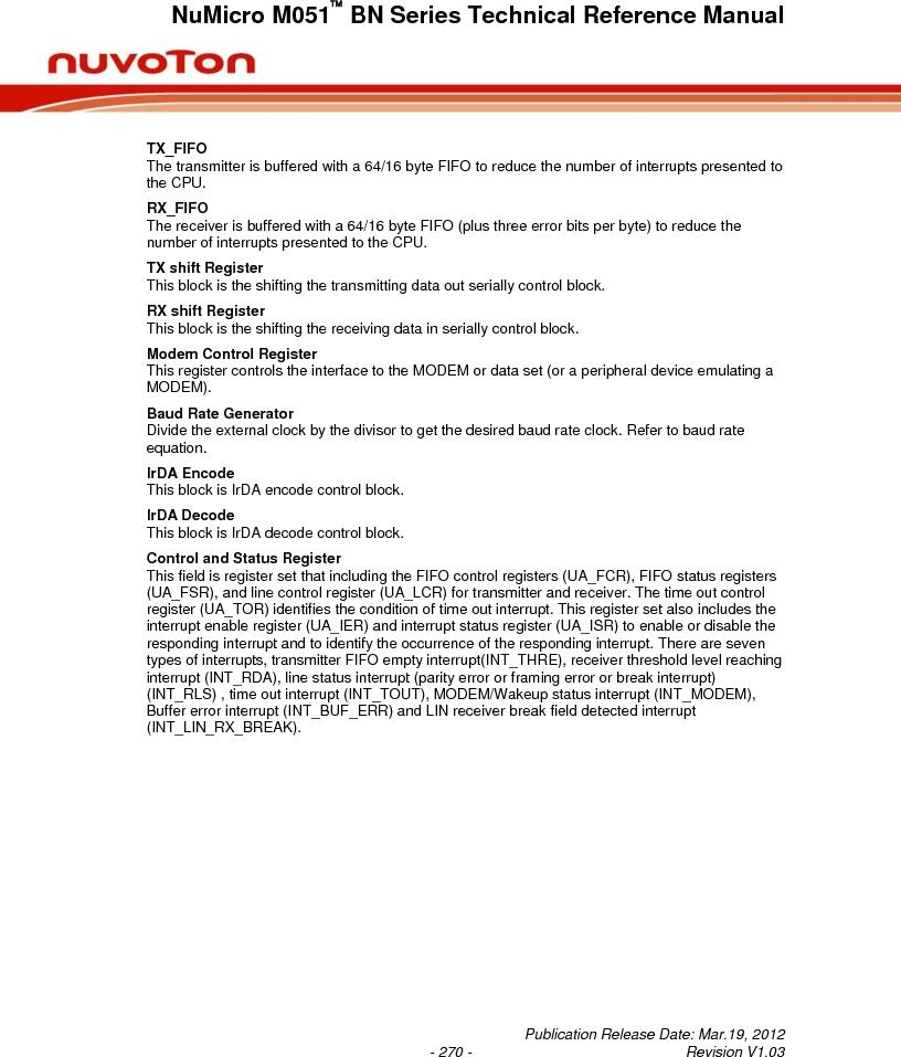 M0516LBN ,Nuvoton Technology Corporation of America厂商,IC MCU 32BIT 64KB FLASH 48LQFP, M0516LBN datasheet预览  第270页