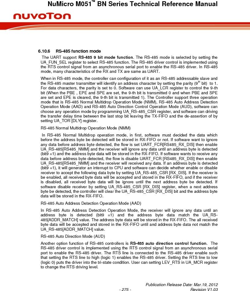 M0516LBN ,Nuvoton Technology Corporation of America厂商,IC MCU 32BIT 64KB FLASH 48LQFP, M0516LBN datasheet预览  第275页