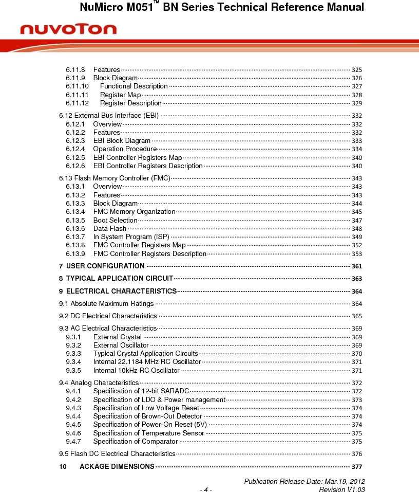 M0516LBN ,Nuvoton Technology Corporation of America厂商,IC MCU 32BIT 64KB FLASH 48LQFP, M0516LBN datasheet预览  第4页