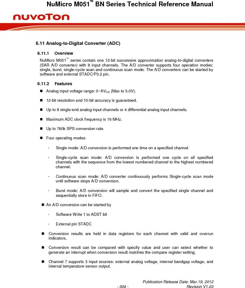 M0516LBN ,Nuvoton Technology Corporation of America厂商,IC MCU 32BIT 64KB FLASH 48LQFP, M0516LBN datasheet预览  第304页