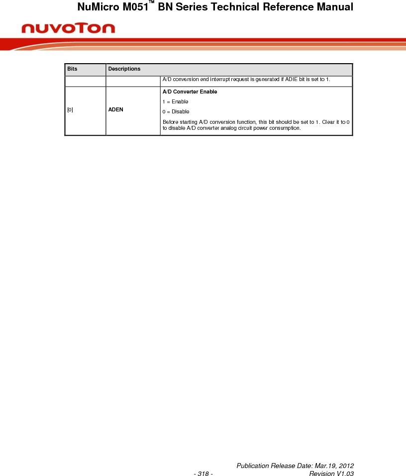 M0516LBN ,Nuvoton Technology Corporation of America厂商,IC MCU 32BIT 64KB FLASH 48LQFP, M0516LBN datasheet预览  第318页
