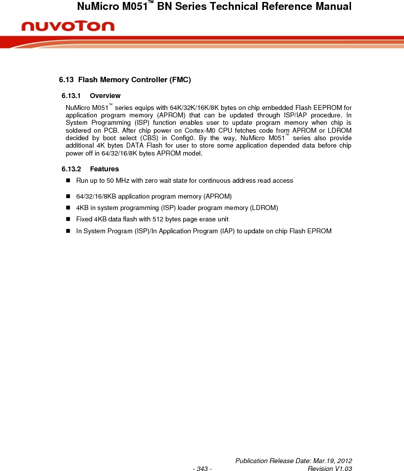 M0516LBN ,Nuvoton Technology Corporation of America厂商,IC MCU 32BIT 64KB FLASH 48LQFP, M0516LBN datasheet预览  第343页