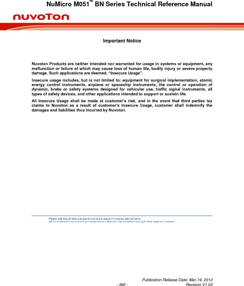 M0516LBN ,Nuvoton Technology Corporation of America厂商,IC MCU 32BIT 64KB FLASH 48LQFP, M0516LBN datasheet预览  第380页