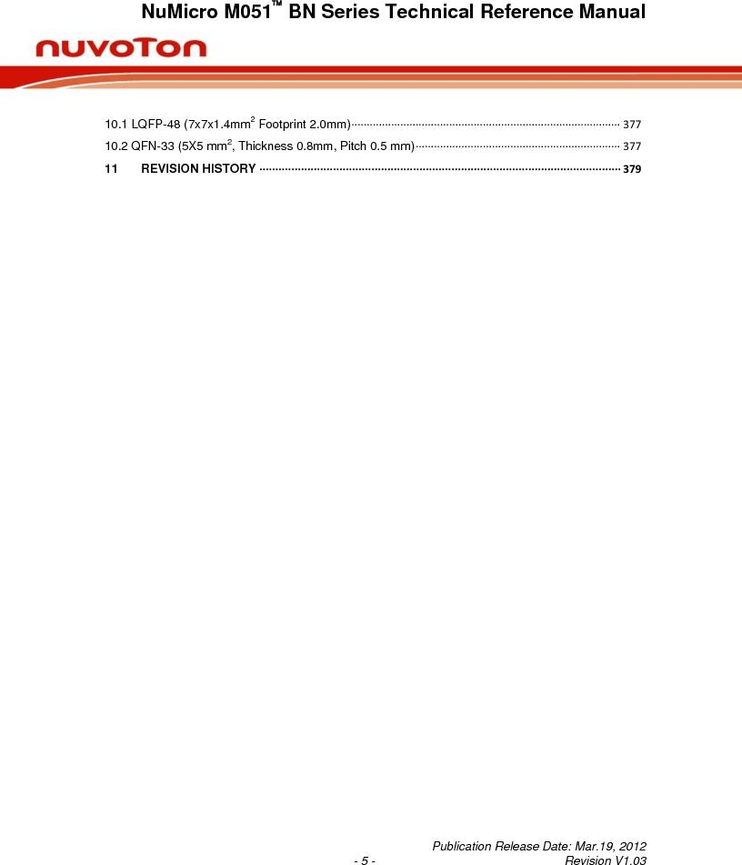 M0516LBN ,Nuvoton Technology Corporation of America厂商,IC MCU 32BIT 64KB FLASH 48LQFP, M0516LBN datasheet预览  第5页