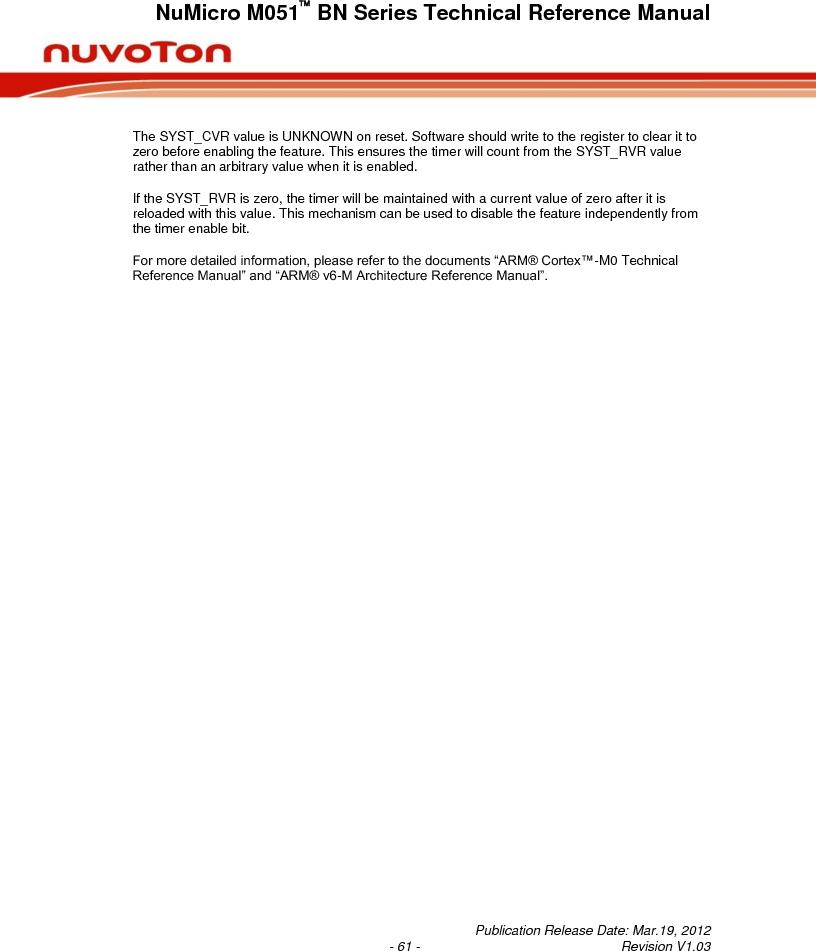 M0516LBN ,Nuvoton Technology Corporation of America厂商,IC MCU 32BIT 64KB FLASH 48LQFP, M0516LBN datasheet预览  第61页