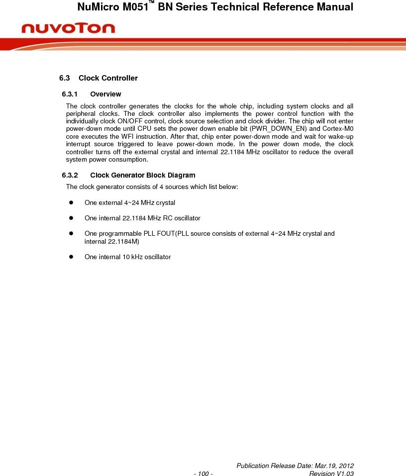 M0516LBN ,Nuvoton Technology Corporation of America厂商,IC MCU 32BIT 64KB FLASH 48LQFP, M0516LBN datasheet预览  第100页