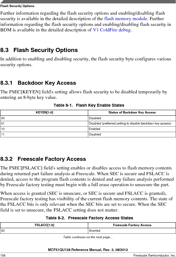 MCF51QU32VHS ,Freescale Semiconductor厂商,IC MCU 32BIT 32K FLASH 44LGA, MCF51QU32VHS datasheet预览  第156页