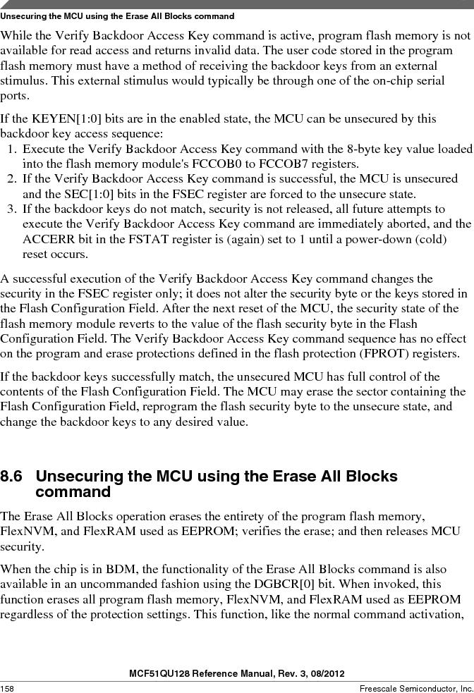 MCF51QU32VHS ,Freescale Semiconductor厂商,IC MCU 32BIT 32K FLASH 44LGA, MCF51QU32VHS datasheet预览  第158页