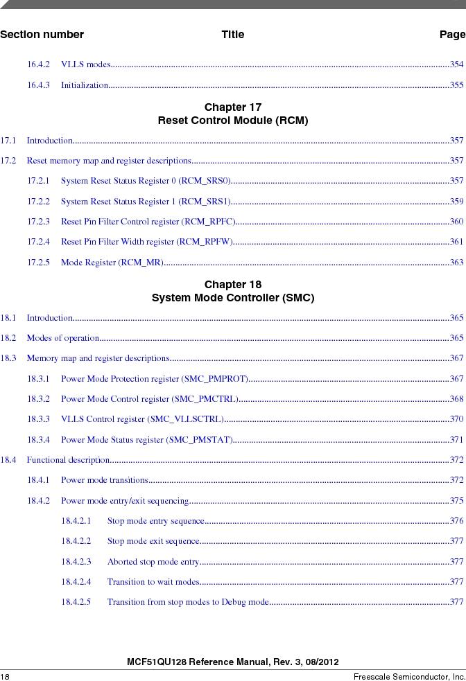 MCF51QU32VHS ,Freescale Semiconductor厂商,IC MCU 32BIT 32K FLASH 44LGA, MCF51QU32VHS datasheet预览  第18页