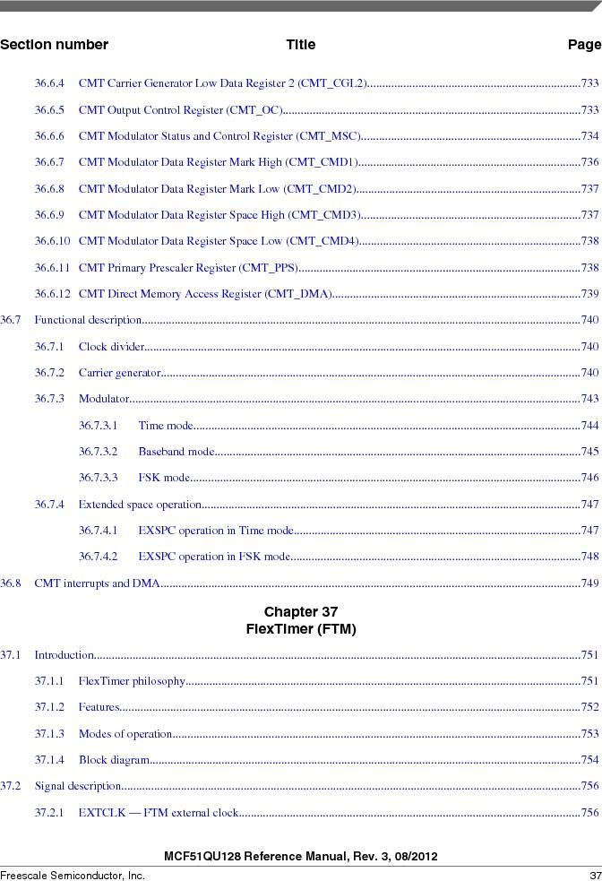 MCF51QU32VHS ,Freescale Semiconductor厂商,IC MCU 32BIT 32K FLASH 44LGA, MCF51QU32VHS datasheet预览  第37页