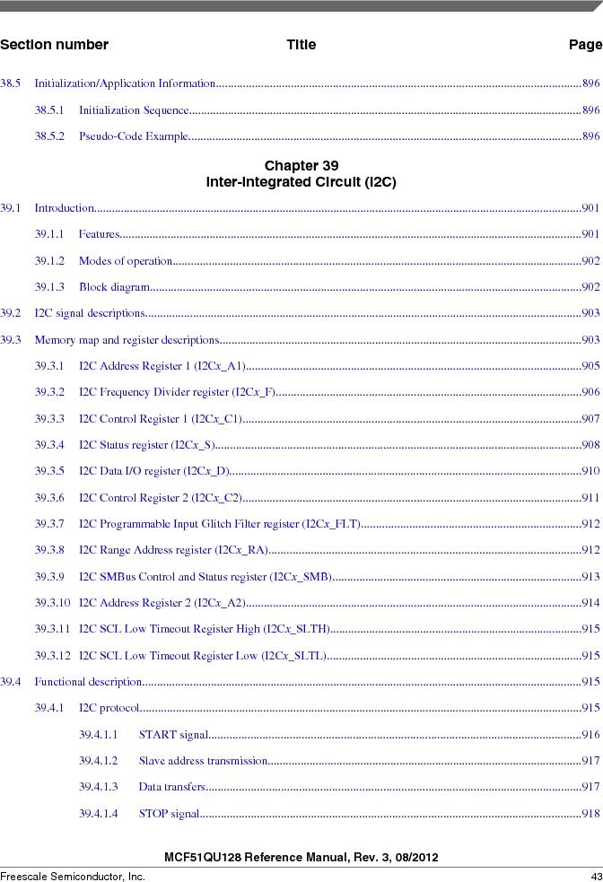 MCF51QU32VHS ,Freescale Semiconductor厂商,IC MCU 32BIT 32K FLASH 44LGA, MCF51QU32VHS datasheet预览  第43页