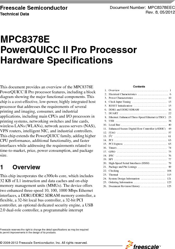 MPC8378VRAGDA ,Freescale Semiconductor厂商,MPU POWERQUICC II 400MHZ 689PBGA, MPC8378VRAGDA datasheet预览  第1页