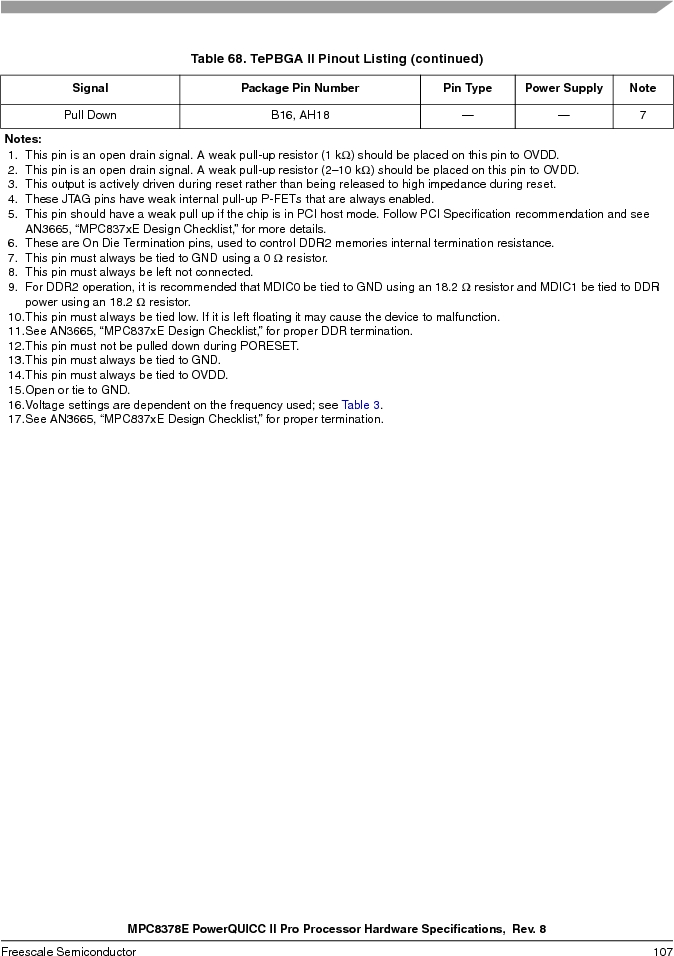 MPC8378VRAGDA ,Freescale Semiconductor厂商,MPU POWERQUICC II 400MHZ 689PBGA, MPC8378VRAGDA datasheet预览  第107页