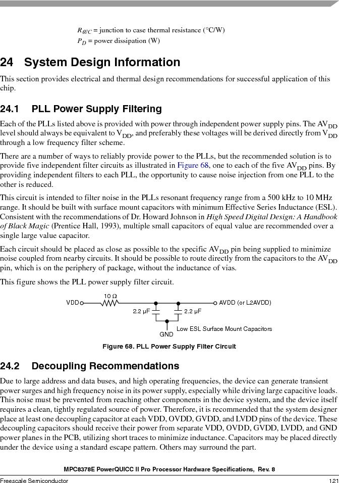 MPC8378VRAGDA ,Freescale Semiconductor厂商,MPU POWERQUICC II 400MHZ 689PBGA, MPC8378VRAGDA datasheet预览  第121页