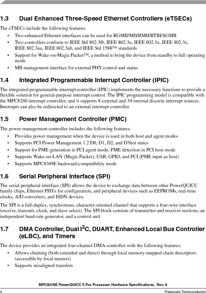MPC8378VRAGDA ,Freescale Semiconductor厂商,MPU POWERQUICC II 400MHZ 689PBGA, MPC8378VRAGDA datasheet预览  第4页